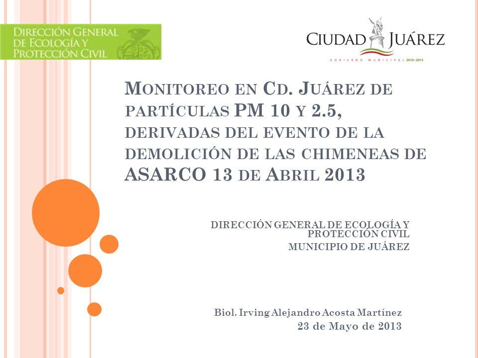 U BICACIÓN DE LOS MONITORES Casa de Adobe PM 10 PM 2.5 ACS PM 10 Bomberos Anapra PM 10