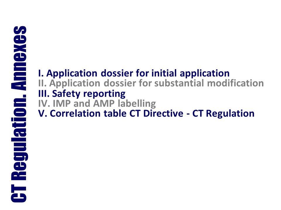 I. Application dossier for initial application II. Application dossier for substantial modification III. Safety reporting IV. IMP and AMP labelling V.