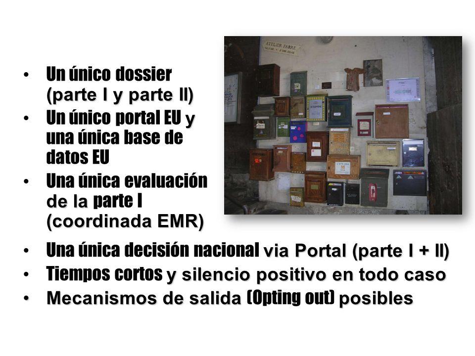 (parte I y parte II) Un único dossier (parte I y parte II) y Un único portal EU y una única base de datos EU de la (coordinada EMR) Una única evaluaci