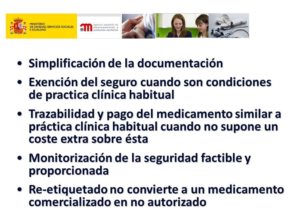 Simplificación de la documentaciónSimplificación de la documentación Exención del seguro cuando son condiciones de practica clínica habitualExención d