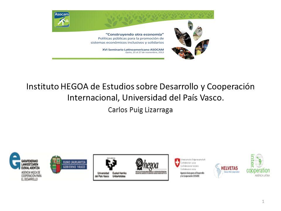 Instituto HEGOA de Estudios sobre Desarrollo y Cooperación Internacional, Universidad del País Vasco. Carlos Puig Lizarraga 1