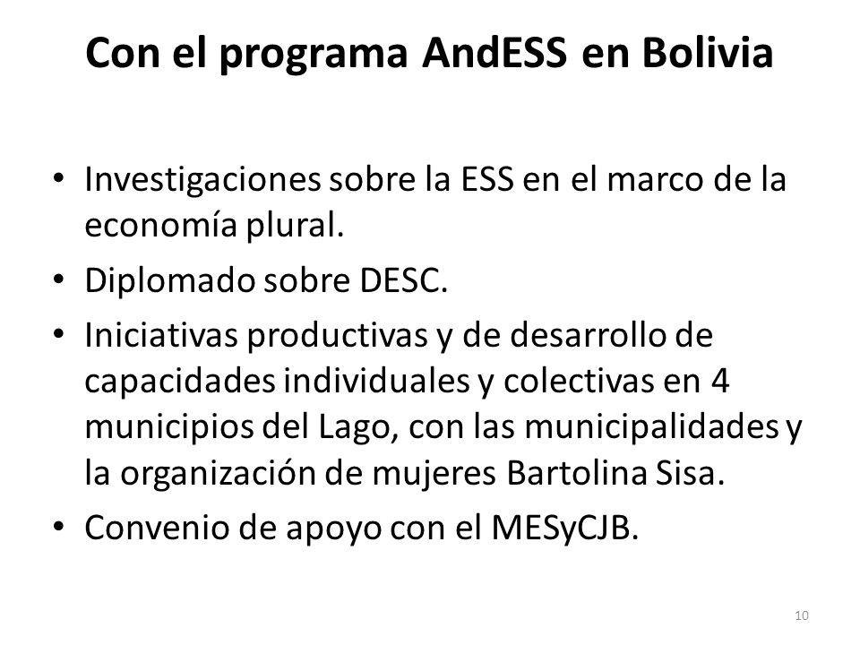 Con el programa AndESS en Bolivia Investigaciones sobre la ESS en el marco de la economía plural. Diplomado sobre DESC. Iniciativas productivas y de d