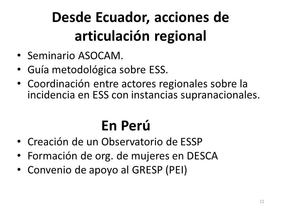 Desde Ecuador, acciones de articulación regional Seminario ASOCAM. Guía metodológica sobre ESS. Coordinación entre actores regionales sobre la inciden