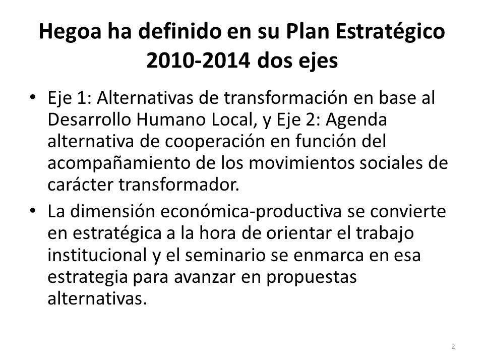 Hegoa ha definido en su Plan Estratégico 2010-2014 dos ejes Eje 1: Alternativas de transformación en base al Desarrollo Humano Local, y Eje 2: Agenda