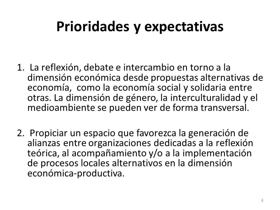 Prioridades y expectativas 1. La reflexión, debate e intercambio en torno a la dimensión económica desde propuestas alternativas de economía, como la