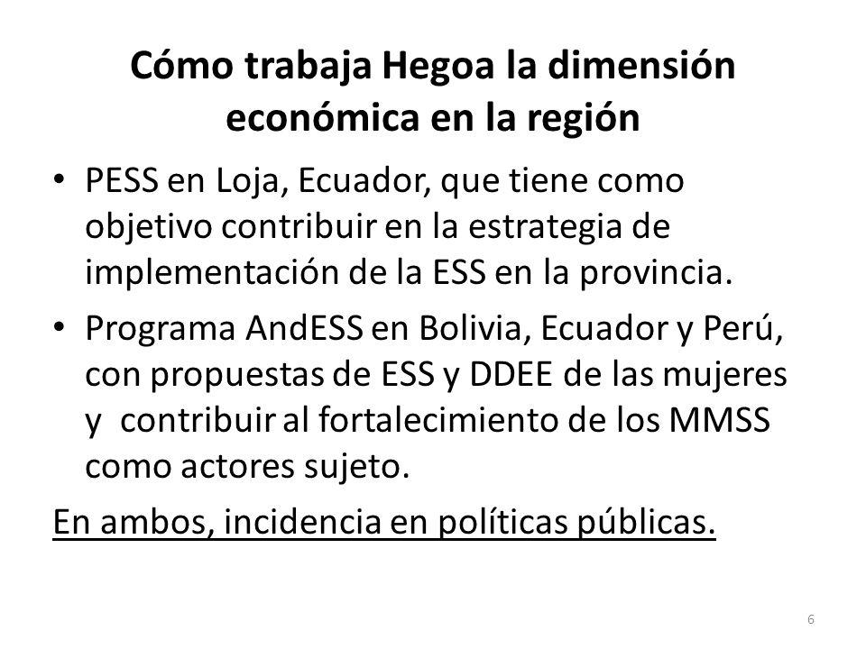Cómo trabaja Hegoa la dimensión económica en la región PESS en Loja, Ecuador, que tiene como objetivo contribuir en la estrategia de implementación de