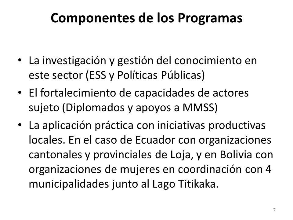 Componentes de los Programas La investigación y gestión del conocimiento en este sector (ESS y Políticas Públicas) El fortalecimiento de capacidades d