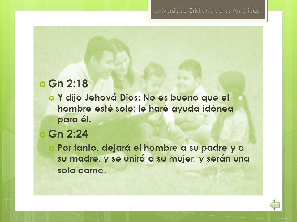 Universidad Cristiana de las Américas Gn 2:18 Y dijo Jehová Dios: No es bueno que el hombre esté solo; le haré ayuda idónea para él. Gn 2:24 Por tanto