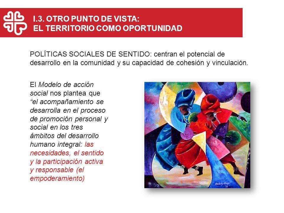 I.3. OTRO PUNTO DE VISTA: EL TERRITORIO COMO OPORTUNIDAD POLÍTICAS SOCIALES DE SENTIDO: centran el potencial de desarrollo en la comunidad y su capaci