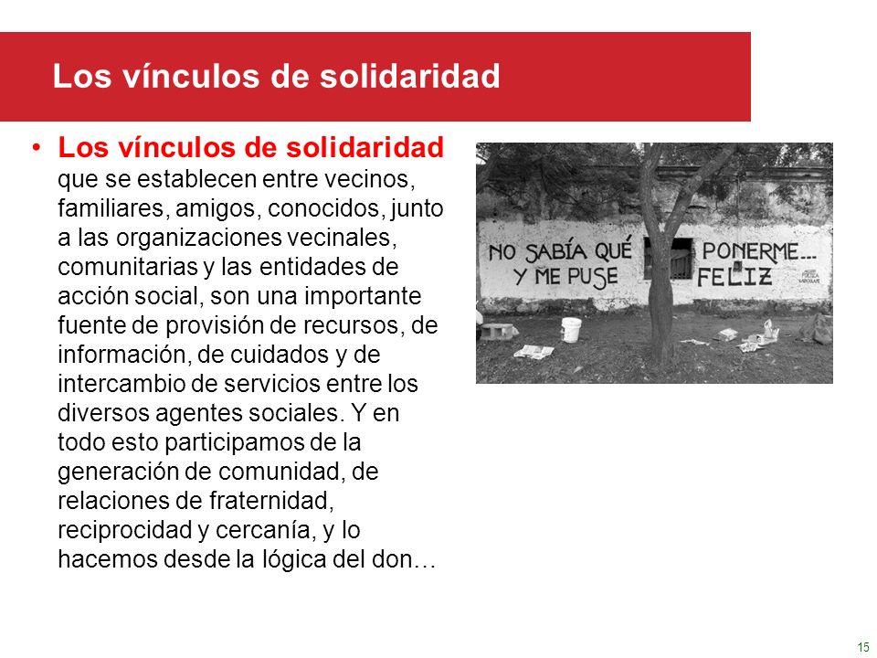 Haga clic para modificar el estilo de título del patrón Los vínculos de solidaridad Los vínculos de solidaridad que se establecen entre vecinos, famil