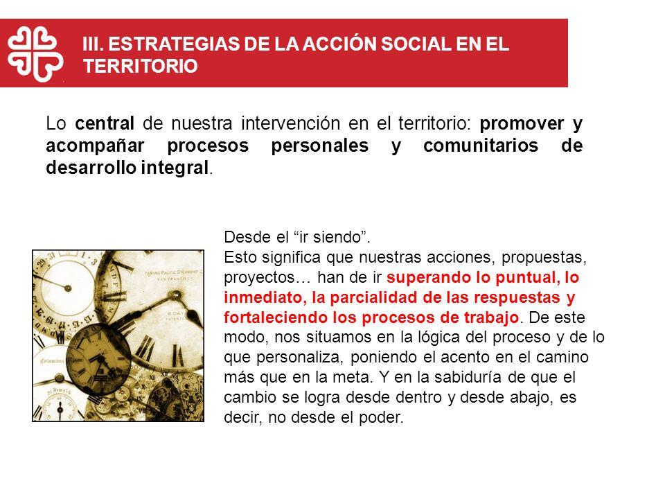 Lo central de nuestra intervención en el territorio: promover y acompañar procesos personales y comunitarios de desarrollo integral. III. ESTRATEGIAS