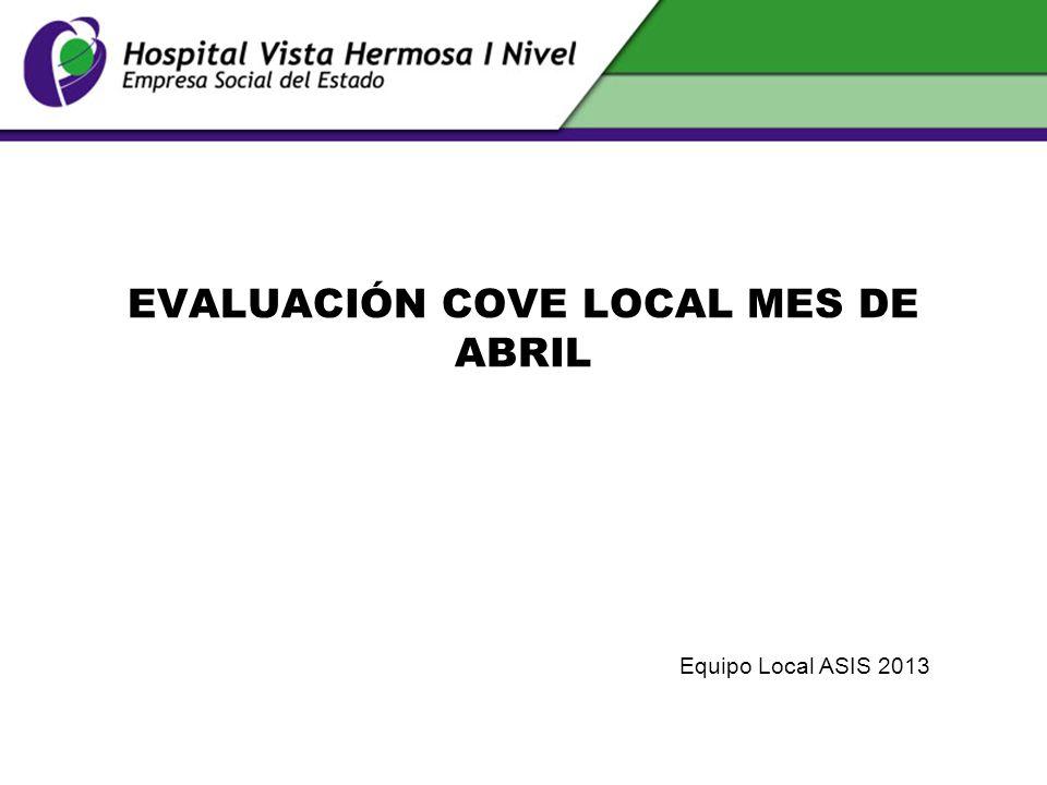 EVALUACIÓN COVE LOCAL MES DE ABRIL Equipo Local ASIS 2013
