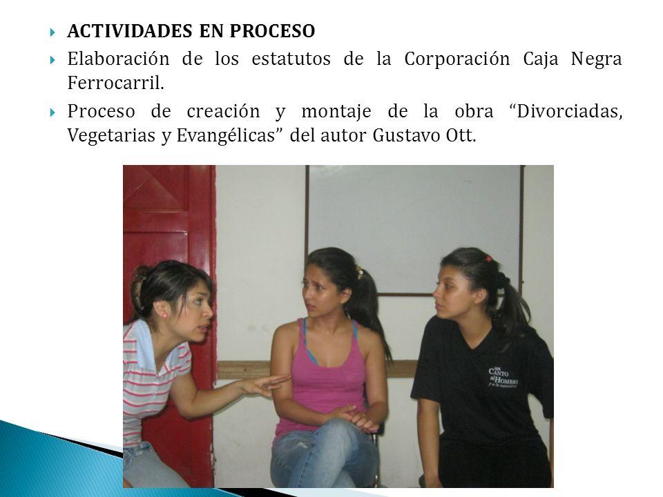 ACTIVIDADES EN PROCESO Elaboración de los estatutos de la Corporación Caja Negra Ferrocarril.