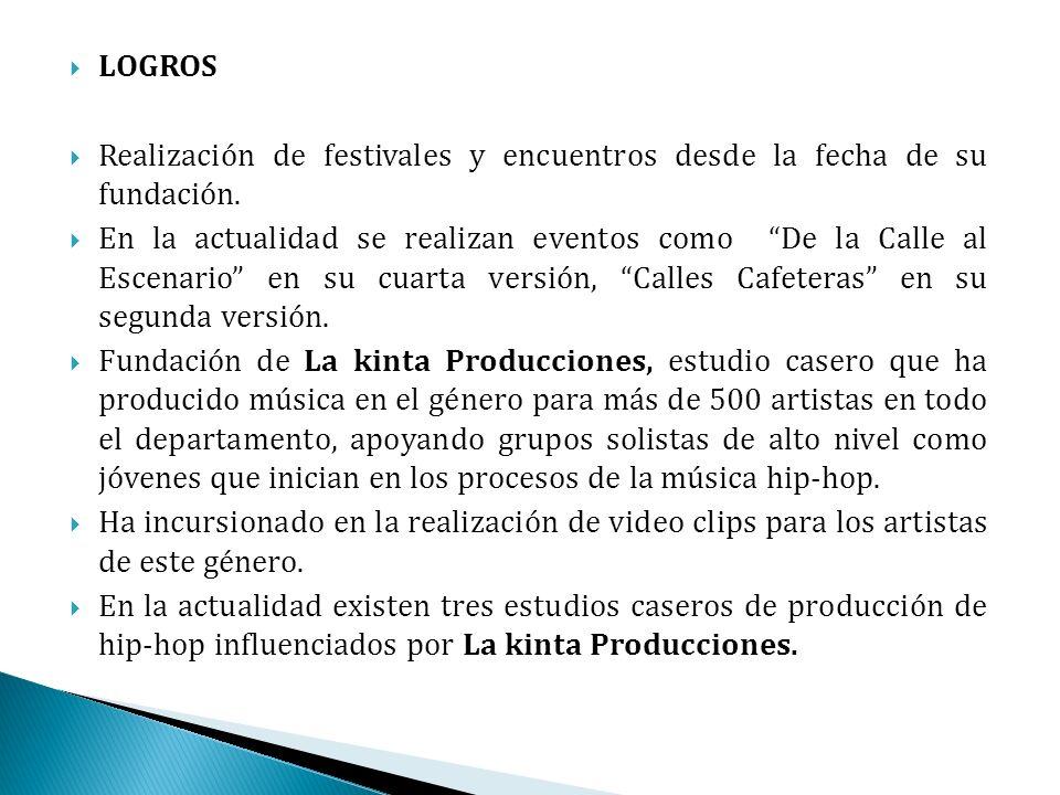 LOGROS Realización de festivales y encuentros desde la fecha de su fundación.