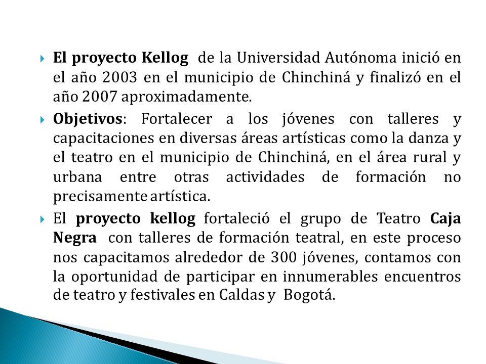 El proyecto Kellog de la Universidad Autónoma inició en el año 2003 en el municipio de Chinchiná y finalizó en el año 2007 aproximadamente.