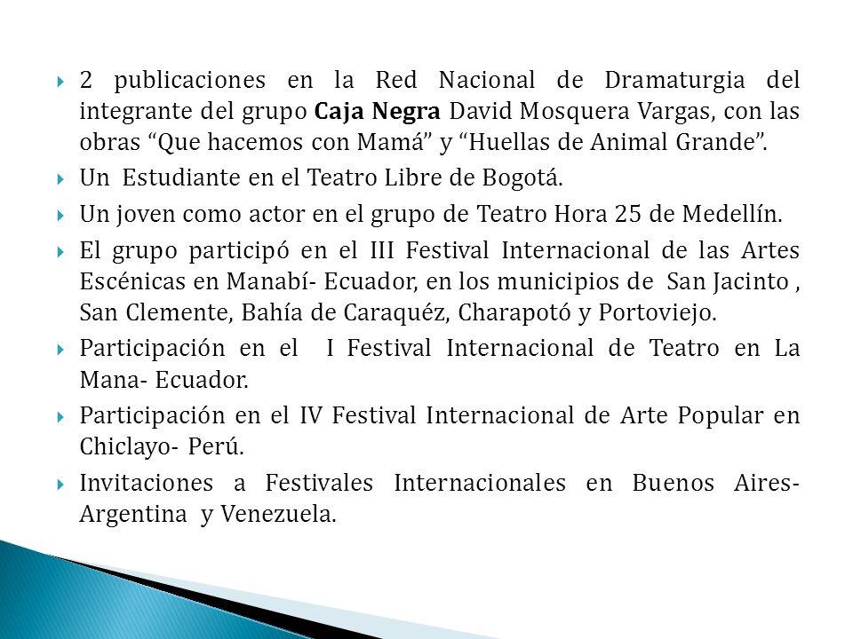 2 publicaciones en la Red Nacional de Dramaturgia del integrante del grupo Caja Negra David Mosquera Vargas, con las obras Que hacemos con Mamá y Huellas de Animal Grande.