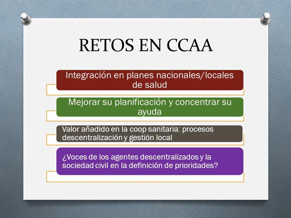 RETOS EN CCAA Integración en planes nacionales/locales de salud Mejorar su planificación y concentrar su ayuda Valor añadido en la coop sanitaria: pro