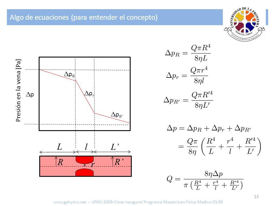 Algo de ecuaciones (para entender el concepto) 13 www.gphysics.net – UFRO-2009-Clase Inaugural Programa Maestría en Física Medica-03.09 L L l R R r p