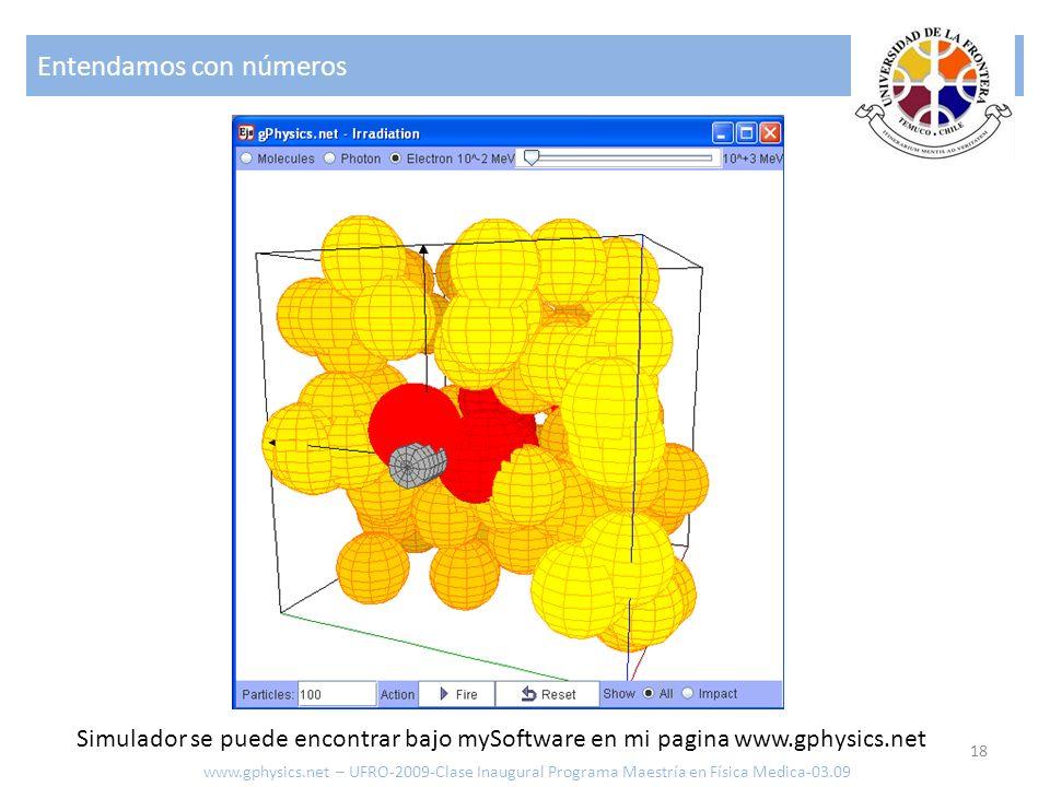 Entendamos con números 18 www.gphysics.net – UFRO-2009-Clase Inaugural Programa Maestría en Física Medica-03.09 Simulador se puede encontrar bajo mySo