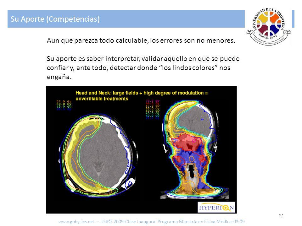 Su Aporte (Competencias) 21 www.gphysics.net – UFRO-2009-Clase Inaugural Programa Maestría en Física Medica-03.09 Aun que parezca todo calculable, los