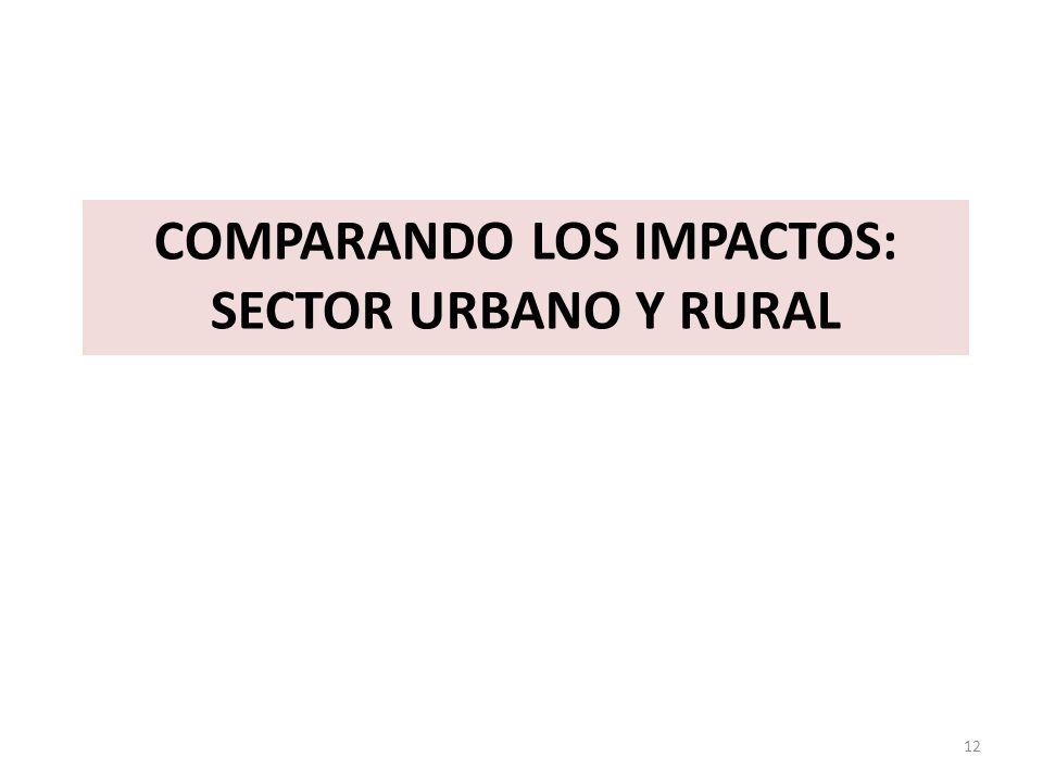COMPARANDO LOS IMPACTOS: SECTOR URBANO Y RURAL 12
