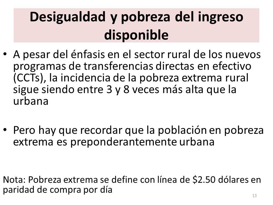 Desigualdad y pobreza del ingreso disponible A pesar del énfasis en el sector rural de los nuevos programas de transferencias directas en efectivo (CC