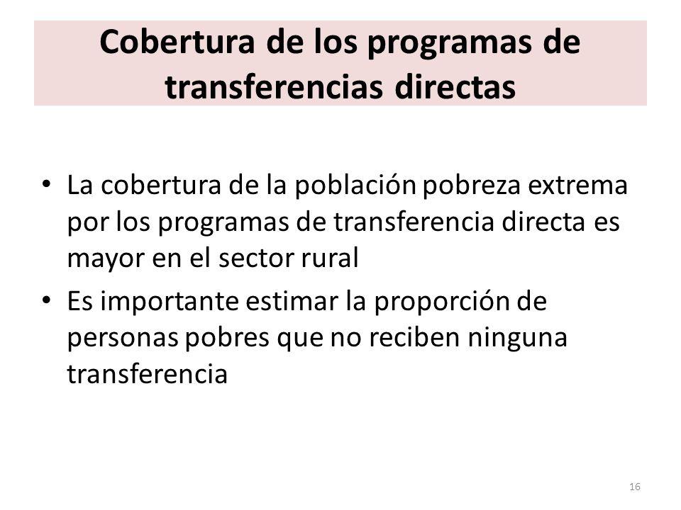 Cobertura de los programas de transferencias directas La cobertura de la población pobreza extrema por los programas de transferencia directa es mayor en el sector rural Es importante estimar la proporción de personas pobres que no reciben ninguna transferencia 16