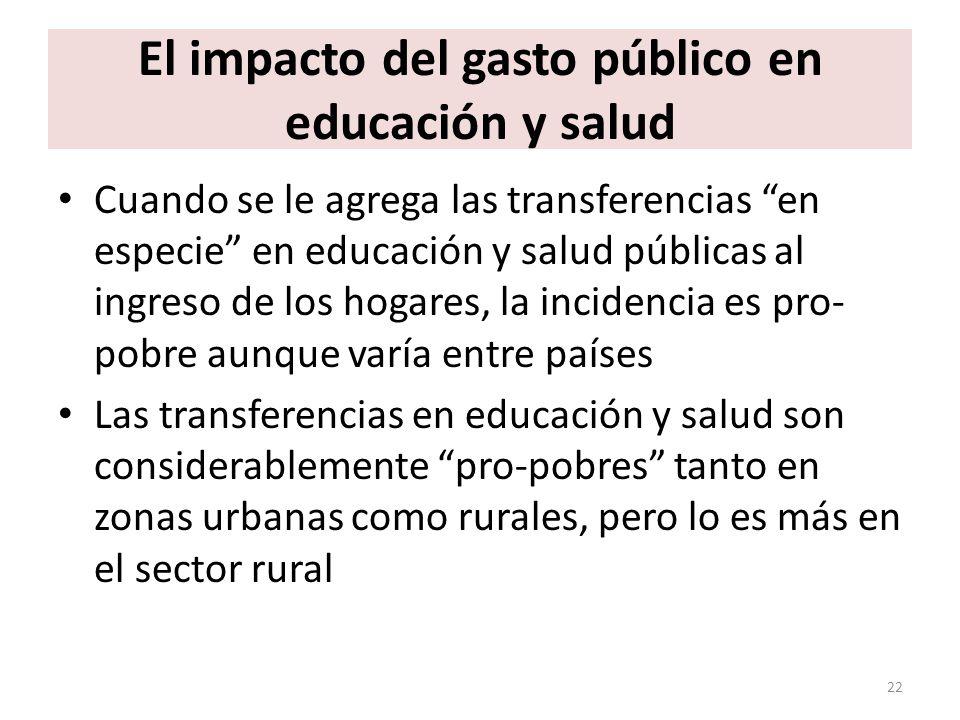 El impacto del gasto público en educación y salud Cuando se le agrega las transferencias en especie en educación y salud públicas al ingreso de los ho