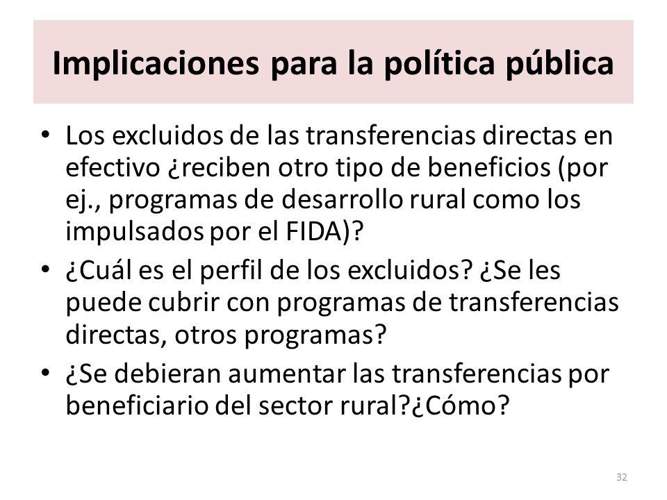 Implicaciones para la política pública Los excluidos de las transferencias directas en efectivo ¿reciben otro tipo de beneficios (por ej., programas de desarrollo rural como los impulsados por el FIDA).