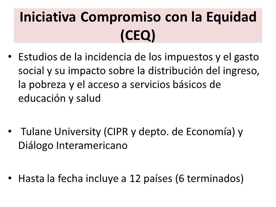 Iniciativa Compromiso con la Equidad (CEQ) Estudios de la incidencia de los impuestos y el gasto social y su impacto sobre la distribución del ingreso
