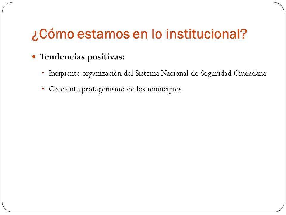 ¿Cómo estamos en lo institucional? Tendencias positivas: Incipiente organización del Sistema Nacional de Seguridad Ciudadana Creciente protagonismo de