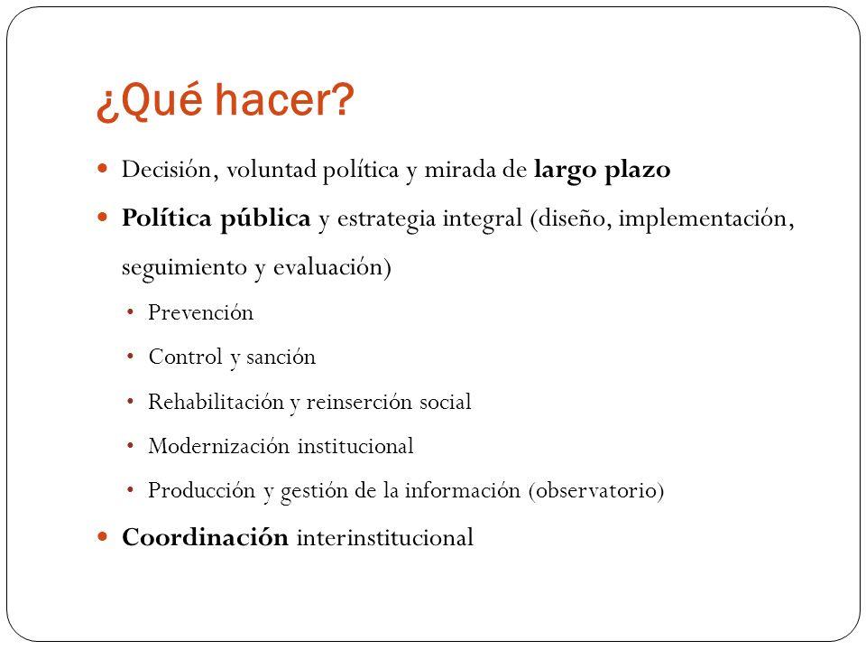 ¿Qué hacer? Decisión, voluntad política y mirada de largo plazo Política pública y estrategia integral (diseño, implementación, seguimiento y evaluaci