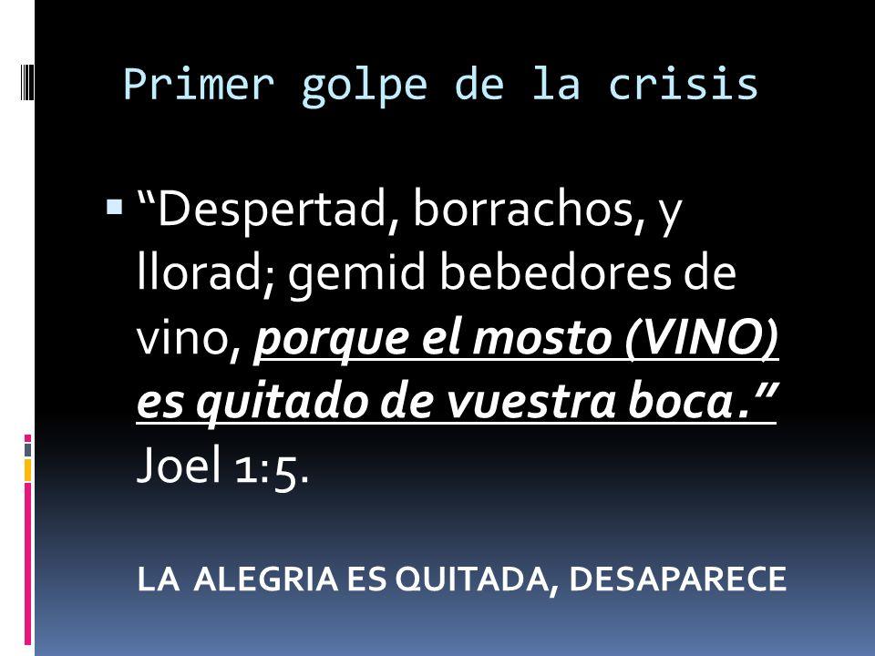 Primer golpe de la crisis Despertad, borrachos, y llorad; gemid bebedores de vino, porque el mosto (VINO) es quitado de vuestra boca. Joel 1:5. LA ALE
