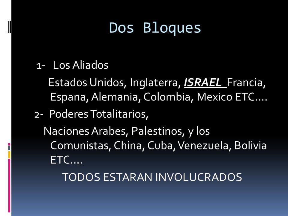 Dos Bloques 1- Los Aliados Estados Unidos, Inglaterra, ISRAEL Francia, Espana, Alemania, Colombia, Mexico ETC…. 2- Poderes Totalitarios, Naciones Arab