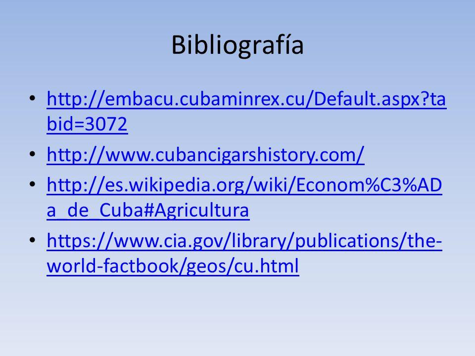 Bibliografía http://embacu.cubaminrex.cu/Default.aspx?ta bid=3072 http://embacu.cubaminrex.cu/Default.aspx?ta bid=3072 http://www.cubancigarshistory.c