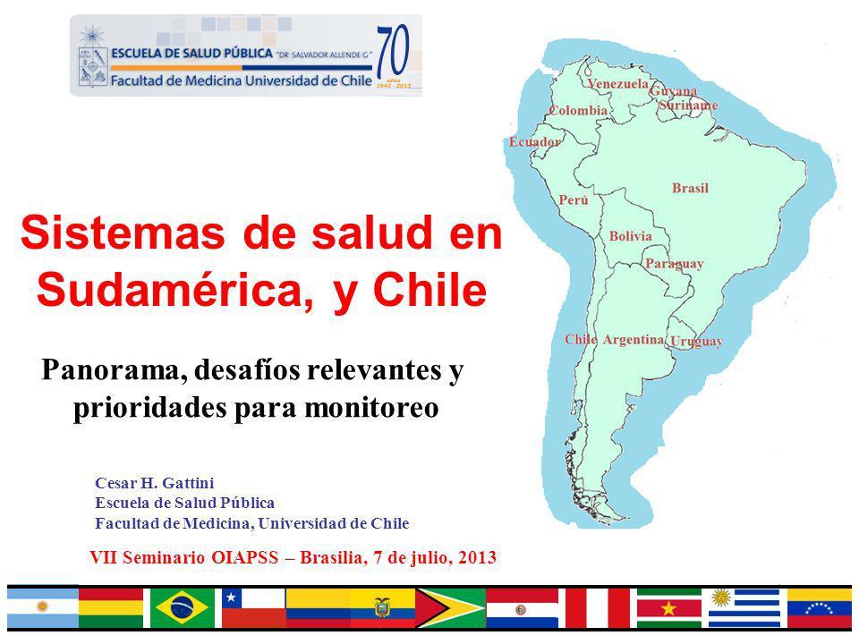 1 Sistemas de salud en Sudamérica, y Chile Cesar H. Gattini Escuela de Salud Pública Facultad de Medicina, Universidad de Chile VII Seminario OIAPSS –
