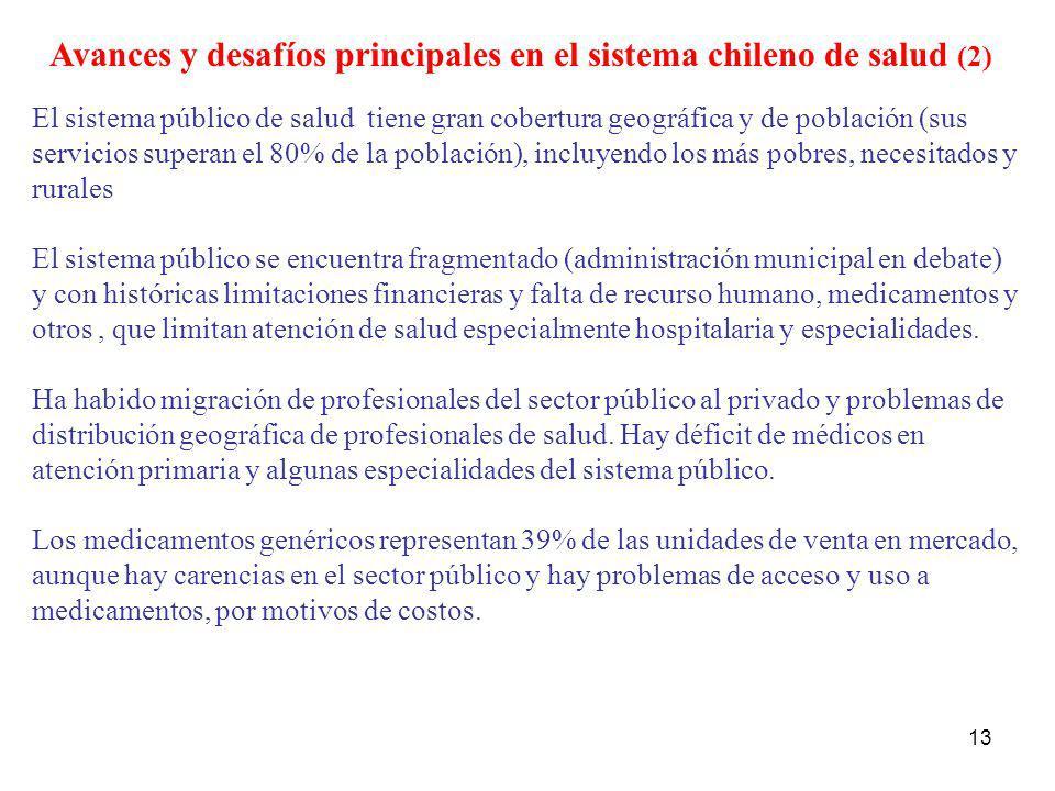 13 Avances y desafíos principales en el sistema chileno de salud (2) El sistema público de salud tiene gran cobertura geográfica y de población (sus s