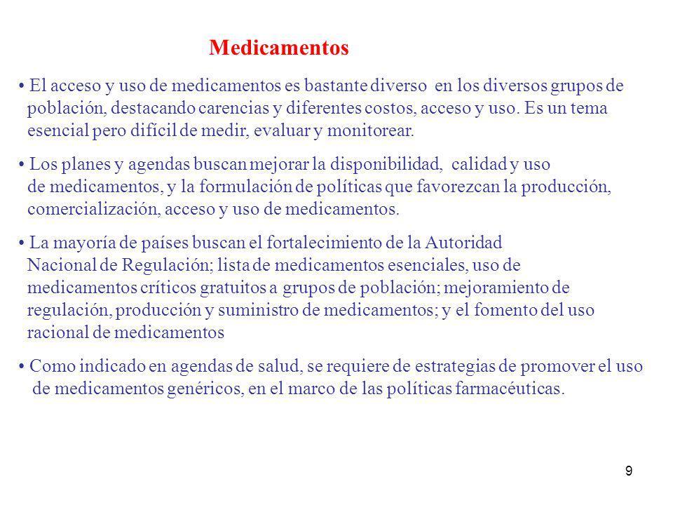 9 Medicamentos El acceso y uso de medicamentos es bastante diverso en los diversos grupos de población, destacando carencias y diferentes costos, acce