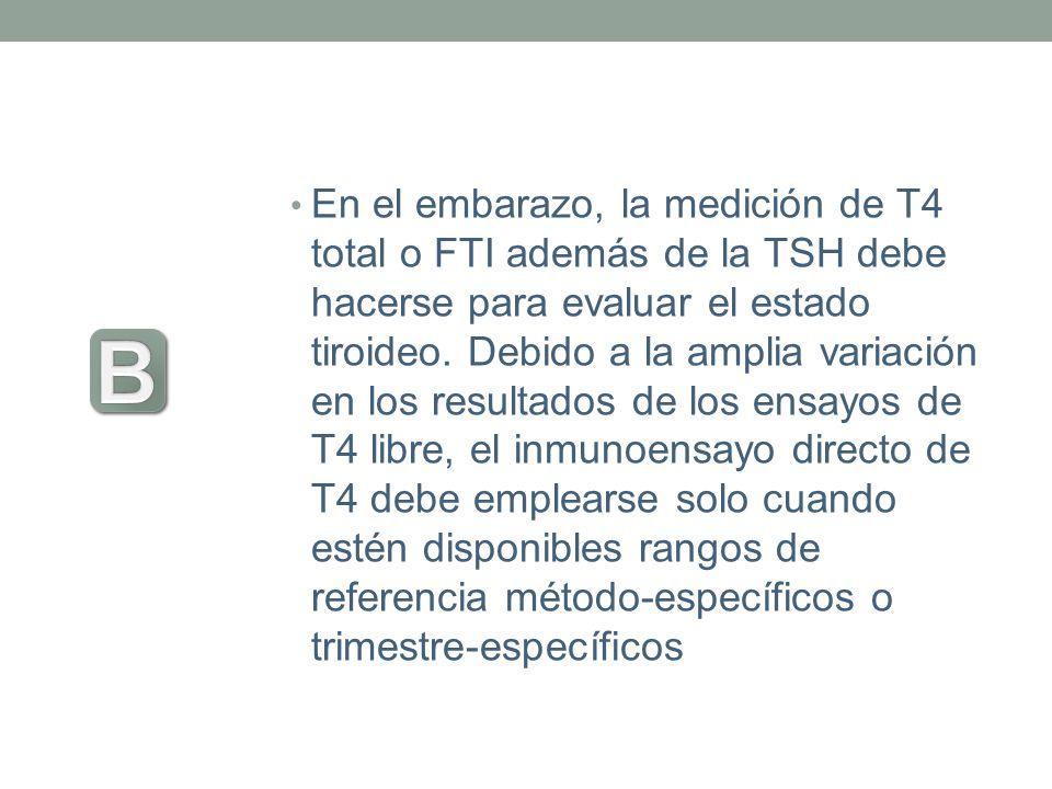 En el embarazo, la medición de T4 total o FTI además de la TSH debe hacerse para evaluar el estado tiroideo. Debido a la amplia variación en los resul
