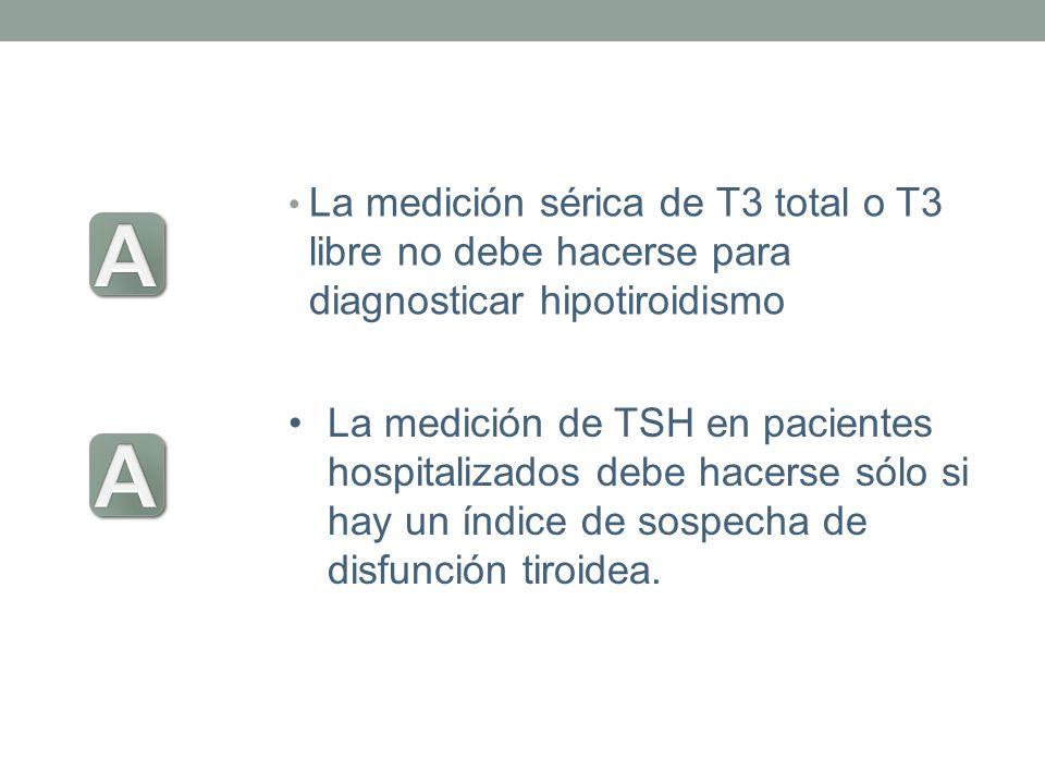 La medición sérica de T3 total o T3 libre no debe hacerse para diagnosticar hipotiroidismo La medición de TSH en pacientes hospitalizados debe hacerse