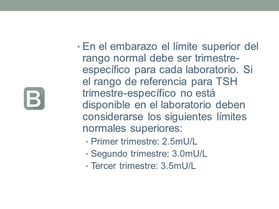 En el embarazo el límite superior del rango normal debe ser trimestre- específico para cada laboratorio. Si el rango de referencia para TSH trimestre-