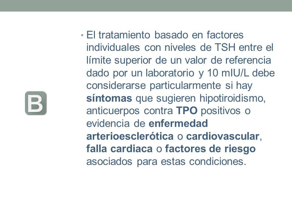 El tratamiento basado en factores individuales con niveles de TSH entre el límite superior de un valor de referencia dado por un laboratorio y 10 mIU/