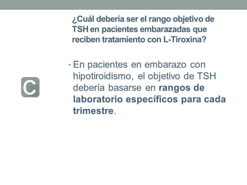 ¿Cuál debería ser el rango objetivo de TSH en pacientes embarazadas que reciben tratamiento con L-Tiroxina? En pacientes en embarazo con hipotiroidism