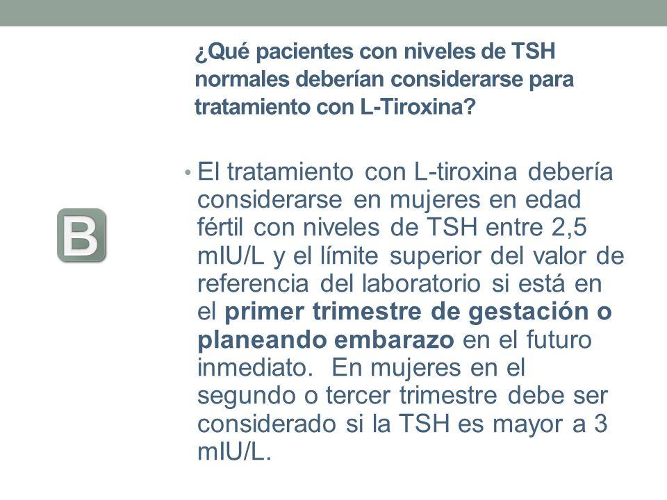 ¿Qué pacientes con niveles de TSH normales deberían considerarse para tratamiento con L-Tiroxina? El tratamiento con L-tiroxina debería considerarse e