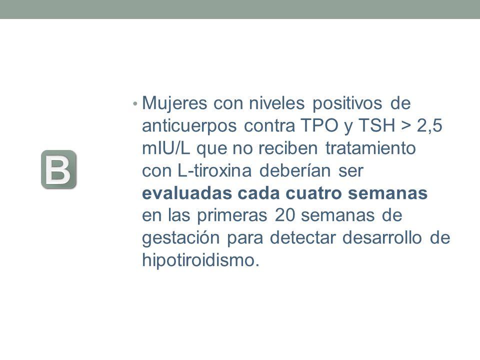 Mujeres con niveles positivos de anticuerpos contra TPO y TSH > 2,5 mIU/L que no reciben tratamiento con L-tiroxina deberían ser evaluadas cada cuatro