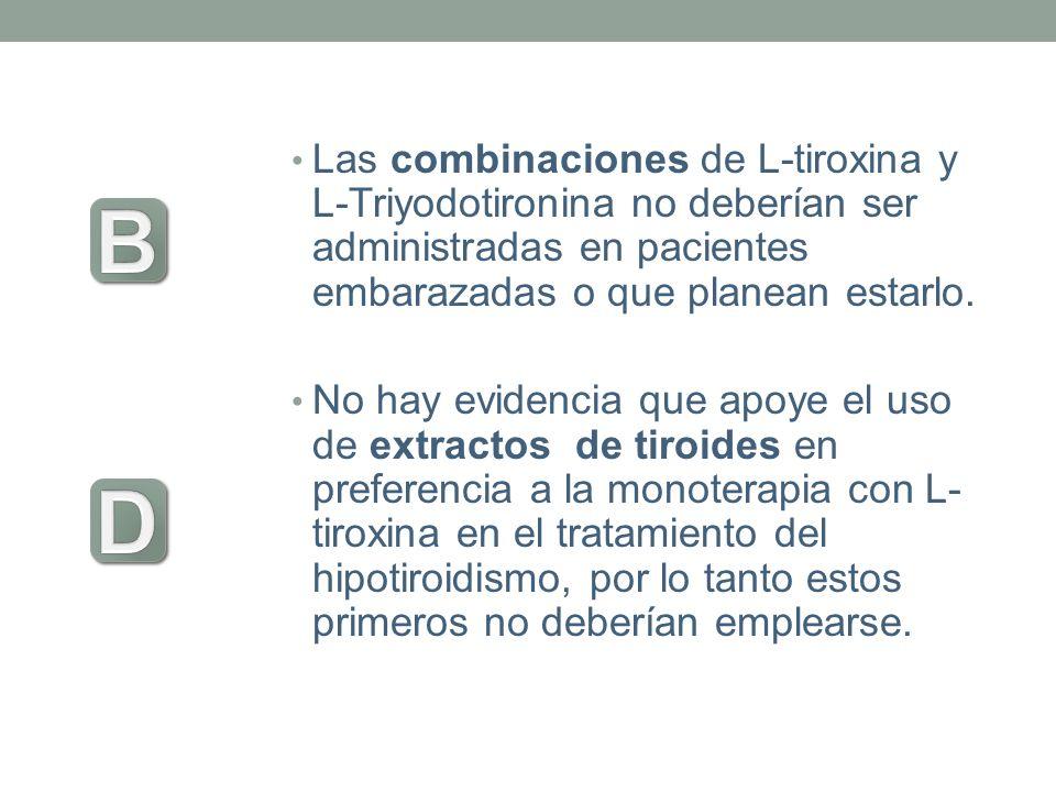 Las combinaciones de L-tiroxina y L-Triyodotironina no deberían ser administradas en pacientes embarazadas o que planean estarlo. No hay evidencia que