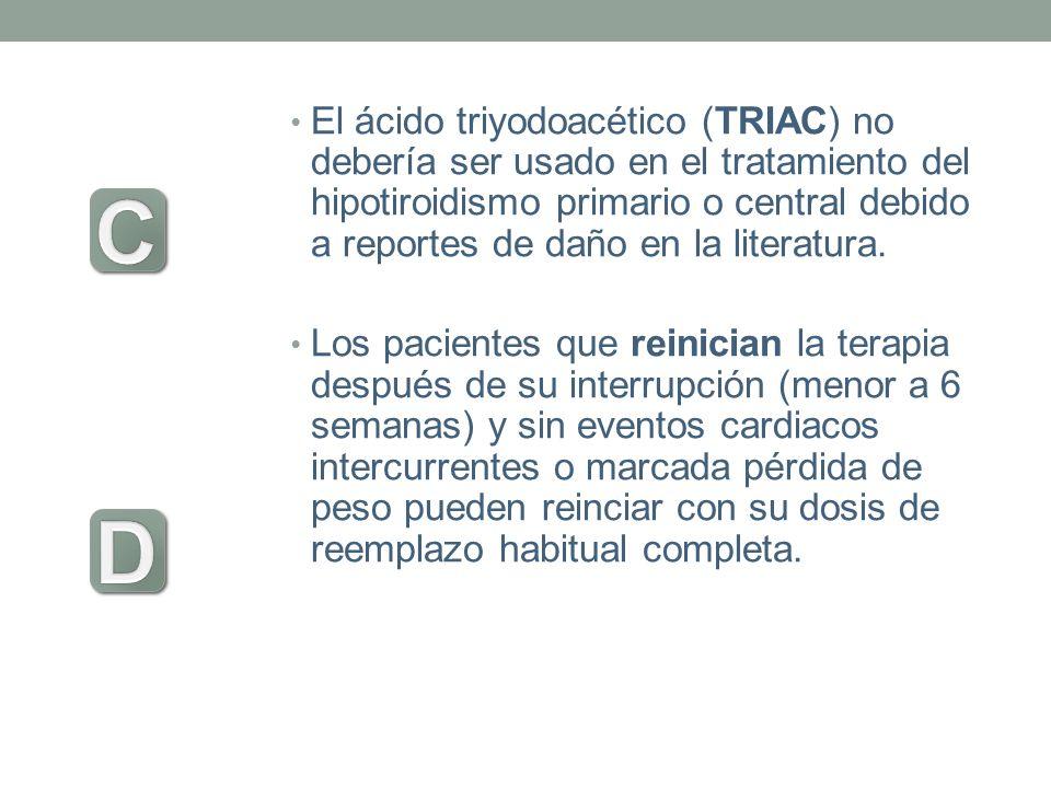 El ácido triyodoacético (TRIAC) no debería ser usado en el tratamiento del hipotiroidismo primario o central debido a reportes de daño en la literatur