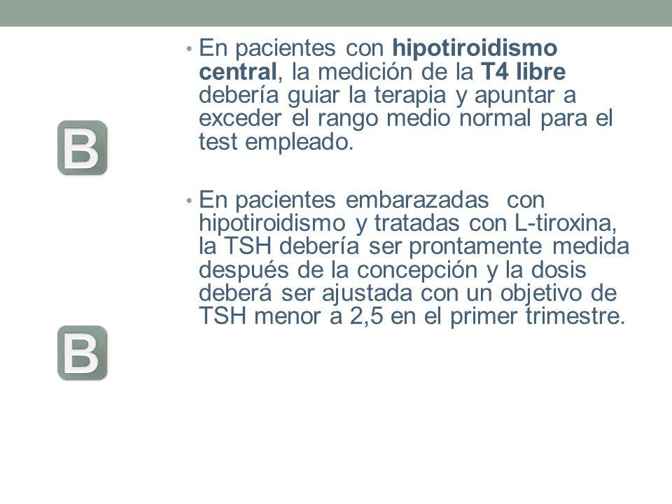 En pacientes con hipotiroidismo central, la medición de la T4 libre debería guiar la terapia y apuntar a exceder el rango medio normal para el test em