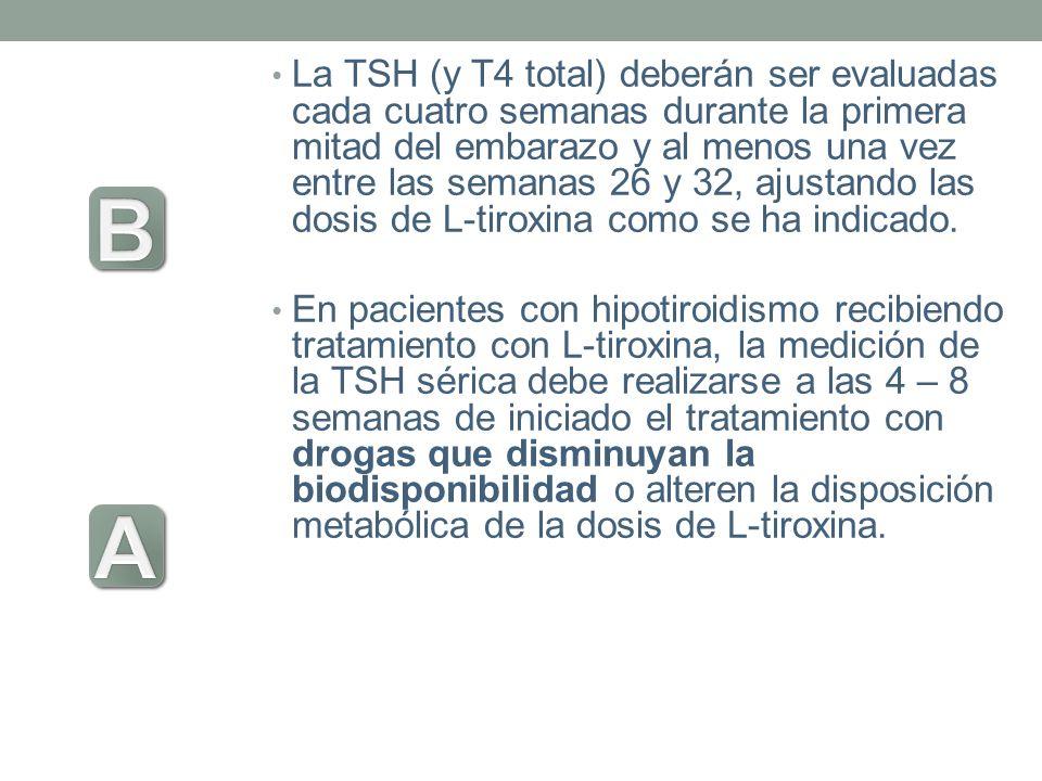 La TSH (y T4 total) deberán ser evaluadas cada cuatro semanas durante la primera mitad del embarazo y al menos una vez entre las semanas 26 y 32, ajus