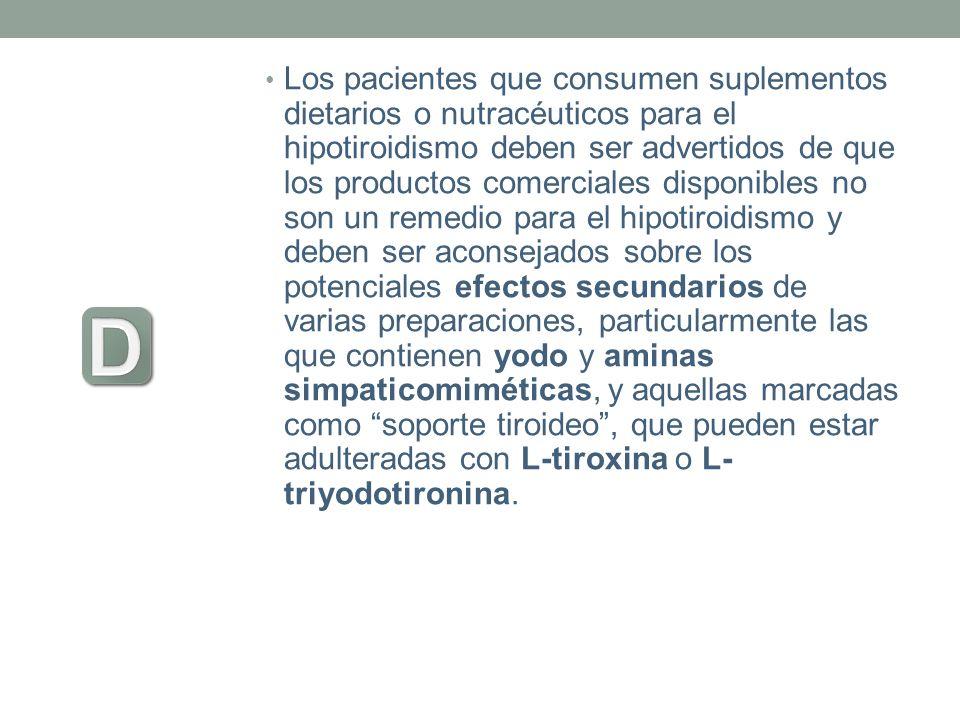 Los pacientes que consumen suplementos dietarios o nutracéuticos para el hipotiroidismo deben ser advertidos de que los productos comerciales disponib